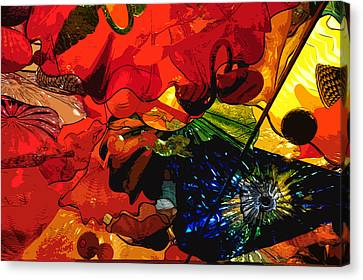 Canvas Print featuring the digital art Blue In A Playground Of Red by Kirt Tisdale