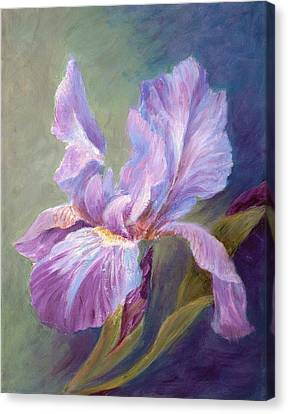 Canvas Print featuring the painting Blue Indigo Iris by Irene Hurdle