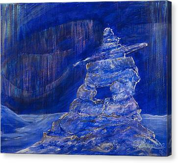 Canvas Print featuring the painting Blue Inukshuk by Cathy Long