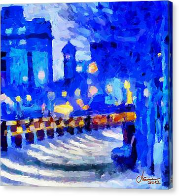 Blue January Night In The City Tnm Canvas Print by Vincent DiNovici