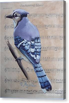Blue Jay On Vintage Sheet Music Canvas Print