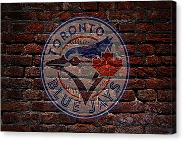 Blue Jays Baseball Graffiti On Brick  Canvas Print by Movie Poster Prints