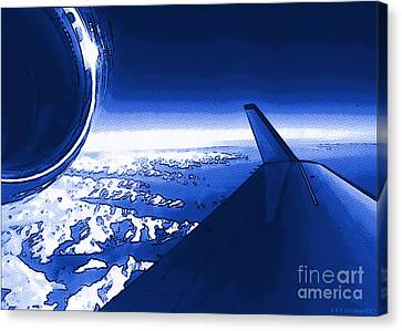 Canvas Print featuring the photograph Blue Jet Pop Art Plane by R Muirhead Art