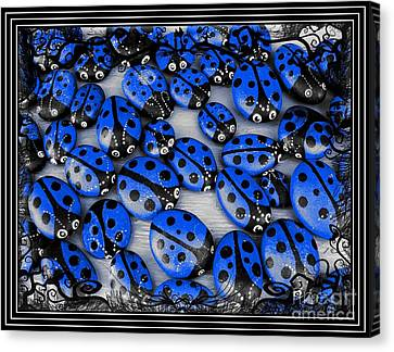Blue Ladybugs With Spooky Frame Canvas Print