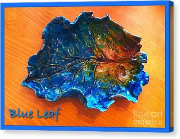 Blue Leaf Ceramic Design 3 Canvas Print by Joan-Violet Stretch