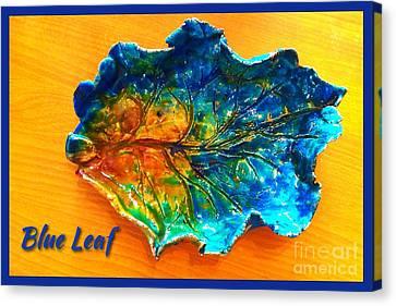 Blue Leaf Ceramic Design Canvas Print by Joan-Violet Stretch