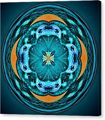 Blue Leaf Mandala Kaleidoscope Canvas Print