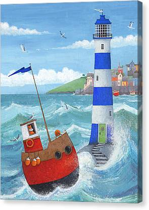 Blue Lighthouse Canvas Print by Peter Adderley