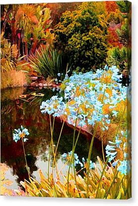 Blue Lily Water Garden Canvas Print by Amy Vangsgard