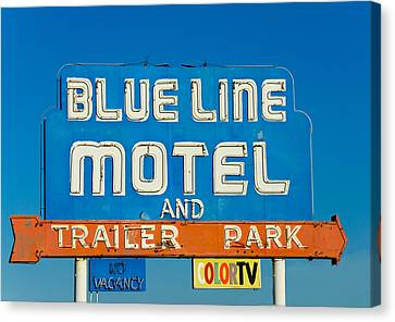 Blue Line Motel And Trailer Park Canvas Print by Matthew Bamberg