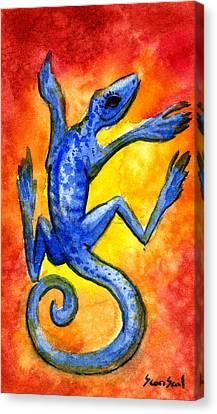 Blue Lizard Canvas Print by Sean Seal