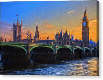 Canvas Print featuring the painting Blue London by Douglas MooreZart