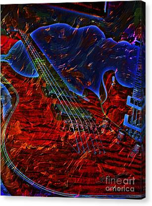 Blue Magic Digital Guitar Art By Steven Langston Canvas Print by Steven Lebron Langston