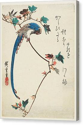 Blue Magpie On Maple Branch Canvas Print by Utagawa Hiroshige