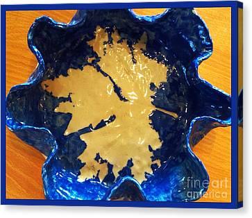 Blue Maple Leaf Dish Canvas Print by Joan-Violet Stretch