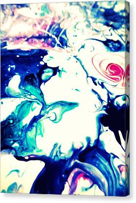 Blue Marble Canvas Print by Mlle Marquee