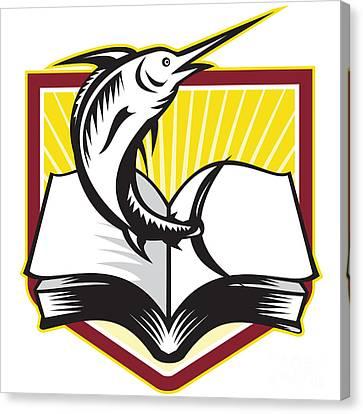 Blue Marlin Fish Jumping Book Retro Canvas Print by Aloysius Patrimonio