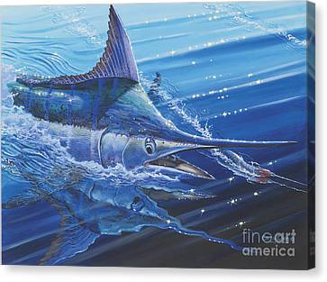 Blue Marlin Strike Off0053 Canvas Print by Carey Chen