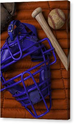 Blue Mask With Bat And Ball Canvas Print