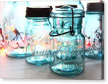 Blue Mason Jars Canvas Print by Elizabeth Budd