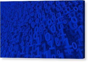 Binary Canvas Print - Blue Matrix by Vitaliy Gladkiy