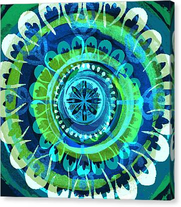Blue Medallion 1 Canvas Print by Lisa Noneman