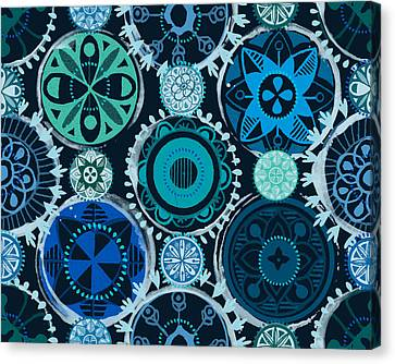 Blue Medallions  Canvas Print by Lisa Noneman