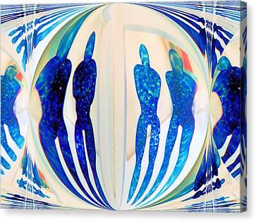 Blue Men Abstract Canvas Print by Carolyn Repka