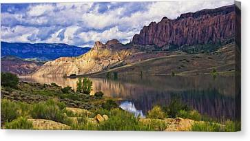 Blue Mesa Reservoir Digital Painting Canvas Print