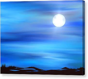Canvas Print featuring the painting Super Moon by Yul Olaivar