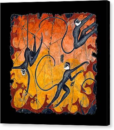 Blue Monkeys No. 9 Canvas Print by Steve Bogdanoff