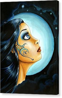 Blue Moon Goodess Canvas Print by Elaina  Wagner