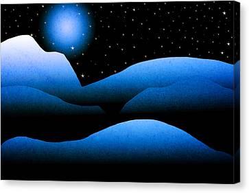 Blue Moon Mountain Landscape Art Canvas Print
