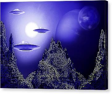 Blue Moon Over An Alien Planet Canvas Print by Hartmut Jager