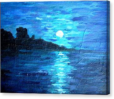 blue moon over lake couer da  lane Idaho Canvas Print by Joseph Hawkins