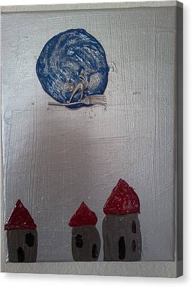 Blue Moon Red Roof Canvas Print