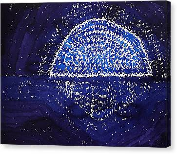 Blue Moonrise Original Painting Canvas Print