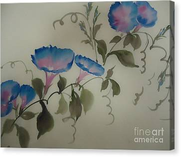 Blue Morning Glory Canvas Print by Dongling Sun