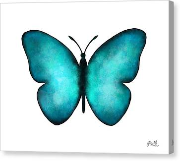 Canvas Print featuring the painting Blue Morpho Butterfly by Laura Bell