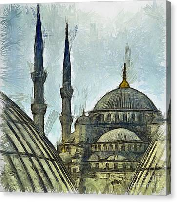 Blue Mosque Drawing Canvas Print by Antony McAulay