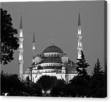 Islam Canvas Print - Blue Mosque In Black And White by Stephen Stookey