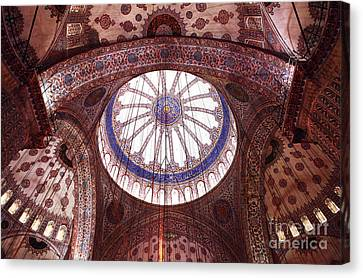 Sultanhmet Canvas Print - Blue Mosque Interior by John Rizzuto