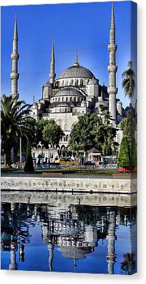 Blue Mosque Reflection Canvas Print