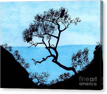 Canvas Print featuring the drawing Blue Mountain by D Hackett