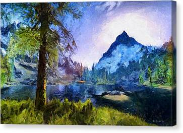 Blue Mountain Of Skyrim Canvas Print