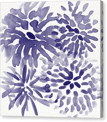 Blue Mums- Watercolor Floral Art Canvas Print