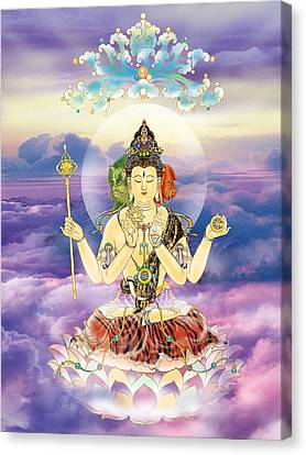 Blue-neck Kuan Yin Canvas Print by Lanjee Chee