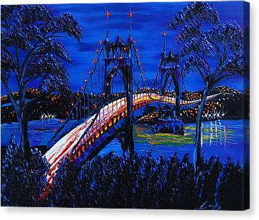Blue Night Of St. Johns Bridge 12 Canvas Print by Portland Art Creations