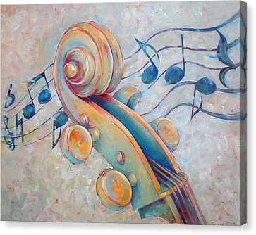 Blue Notes - Cello Scroll In Blues Canvas Print by Susanne Clark