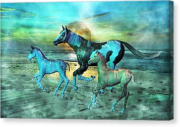 Blue Ocean Horses Canvas Print by Betsy Knapp